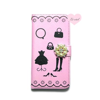 手帳型ケース ピンククローゼット02×パールビジュー