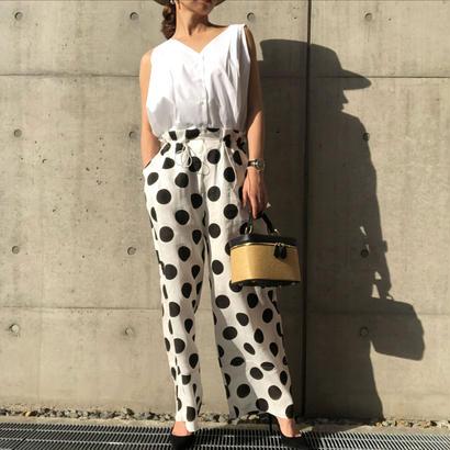 dot linen pants