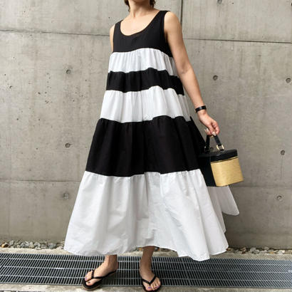bi-color flare long dress
