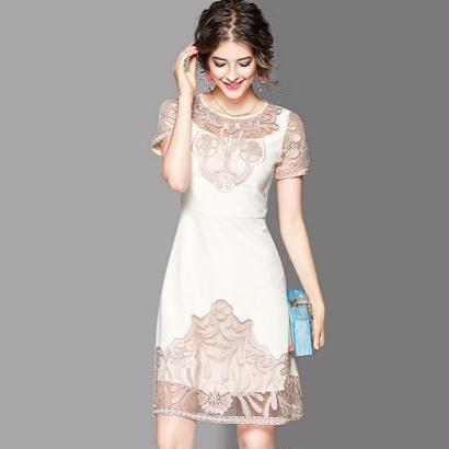 海外セレブ風 上品 刺繍 美しいワンピース 結婚式 二次会 パーティードレス FS050701