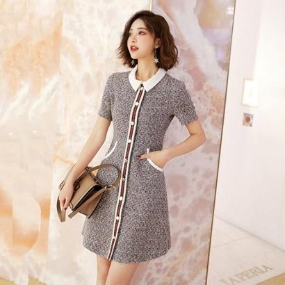お嬢様ワンピース 韓国ワンピース 前ボタン 襟付き 可愛い スリム ツイード FS077301