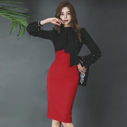 パーティードレス 韓国ワンピース ハイウエスト バイカラーデザイン 可愛い 袖ビジュー CUTE スリム FS097001