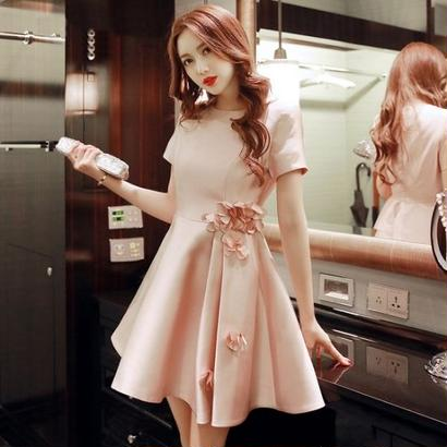 韓国ワンピ パーティードレス 花柄 ピンク 半袖 フレアスカート デート フェミニン ワンピース FS013201