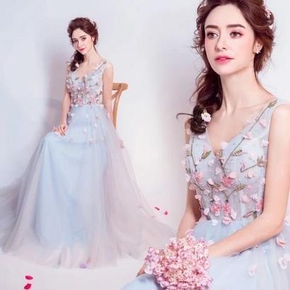 ロングドレス パーティードレス Vネック 花柄刺繍 結婚式 お呼ばれ FS069101