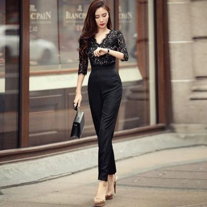 オールインワン パーティー サロペット 黒 ブラック 花柄 レース パンツドレス ワンピース 五分袖 七分袖 FS004901