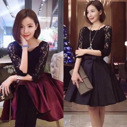 パーティードレス 韓国ワンピース フレア プリーツスカート 花柄 黒 ブラック ワインレッド FS006101