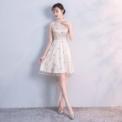 韓国ワンピース スリム ノースリーブ ワンピース フルーツ柄刺繍 チャイナドレス お呼ばれ FS065901