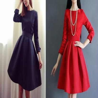 フォーマル ワンピース 結婚式 パーティー 花柄 上品 エレガント ドレス 赤 黒 レッド ブラック FS003701