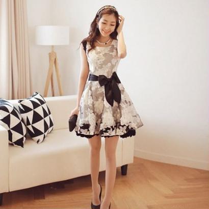韓国ファッション パーティードレス ドレスワンピ 花柄 レース Aライン オーガンジー モノトーン FS019901