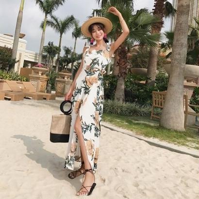 マキシワンピース 韓国ワンピース 花柄ドレス リゾートワンピース 鮮やか バックレス FS110201