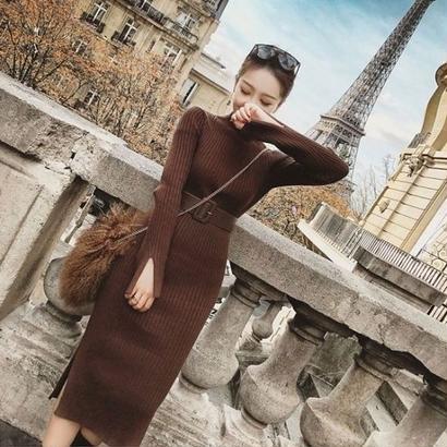 秋冬 ニットワンピース 韓国ワンピース ハイネック スリット セクシー 暖か 3色 FS080601