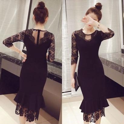 アンティーク柄 結婚式 ドレス 黒 ブラック 花柄 レース ひざ丈 ミモレ丈 ワンピ FS005201