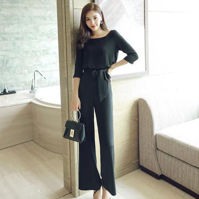 美脚効果 韓国ファッション サロペット オールインワン シック 黒 ブラック FS011601