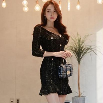 韓国ドレス 韓国ワンピース フロントボタン 可愛い お呼ばれ ナイトシーン FS106901