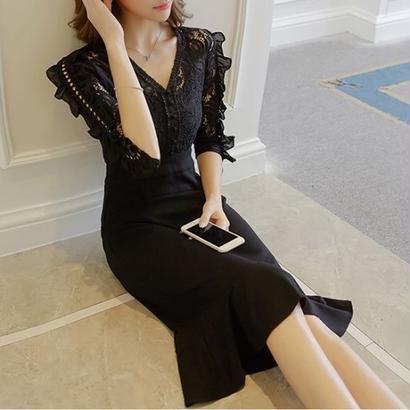 パーティードレス 食事会 結婚式 二次会 韓国ワンピース 花柄レース マーメイドワンピース ブラック 黒 FS037101