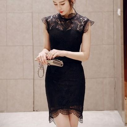 韓国ドレス 花柄刺繍 シースルー ノースリーブワンピース ミディドレス 膝丈 ミモレ丈 FS033801
