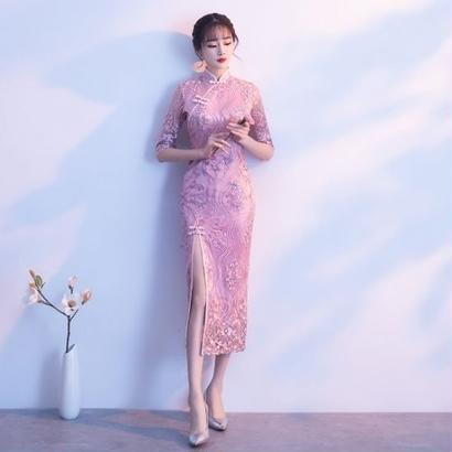 韓国ワンピース チャイナドレス 花柄刺繍 スリット ロング丈 スリムワンピース 美しい 可愛い FS064601