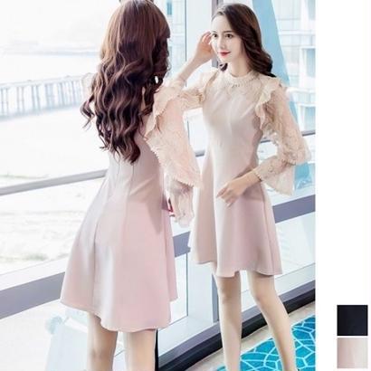 韓国ドレス 韓国ワンピース 花柄 フリルレース 可愛い スリム セクシー FS108701