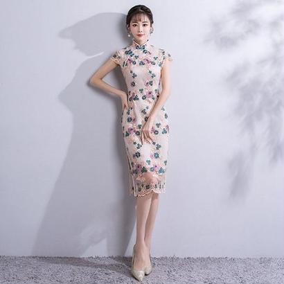 韓国ワンピース 花柄刺繍 スリム チャイナドレス スリットセクシー タイトワンピース FS065201