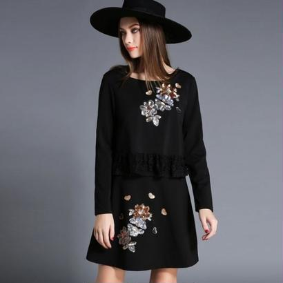 スパンコール 花柄 刺繍 レトロ感 長袖 ワンピース 黒 ブラック 海外 FS005501