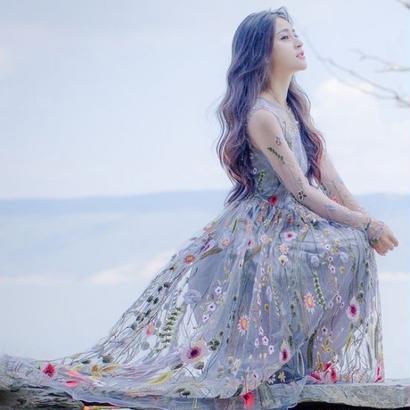 韓国ワンピース パーティードレス ロングドレス 花柄刺繍 レース シースルー 長袖 マキシワンピース FS017201