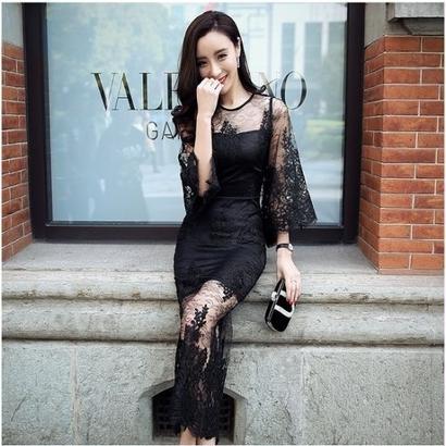 大人女子 総レース ワンピース 黒 ブラック ロングドレス マキシドレス 7分袖 七分袖 シースルー FS004501