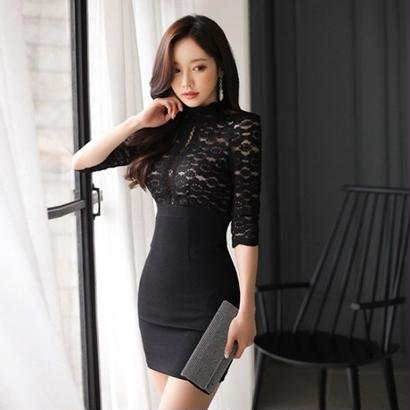韓国ドレス 韓国ワンピース 花柄レース 上品 スリム セクシー FS107701