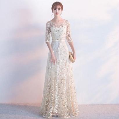 ロングドレス ボタニカル柄 刺繍 結婚式 パーティー FS057801