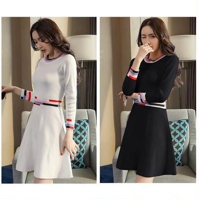 韓国ドレス 韓国ワンピース カラフル ボーダー柄 可愛い 無地 デート お出かけ FS106501