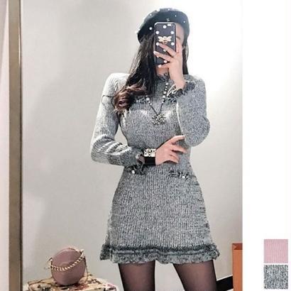 秋冬 ニットワンピース 韓国ワンピース 袖フリル 可愛い FS101101