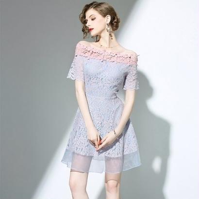 韓国ワンピース 花柄刺繍 パーティードレス 結婚式 食事会 ナイトシーン FS061001