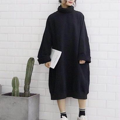 秋冬 ニットワンピース ハイネック 韓国ワンピース セーター カラバリ6色 ひざ丈 膝丈 ミモレ丈 FS037001