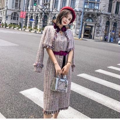 ツイードセットアップ 韓国ワンピース お嬢様スタイル 上品デザイン お呼ばれ FS079501