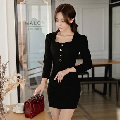 ブラックドレス 韓国ワンピース フロントボタン 可愛い ナイトシーン FS105601