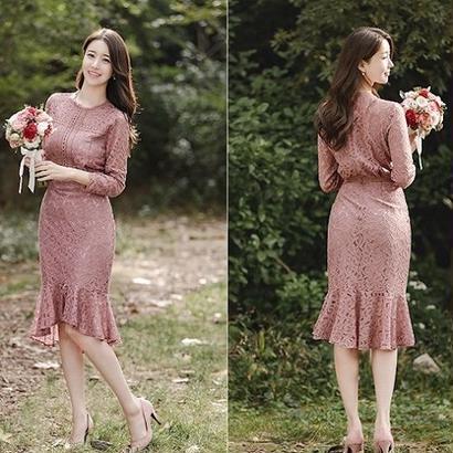 韓国ワンピース 秋服 結婚式 二次会 パーティードレス 食事会 レース レディース FS035101