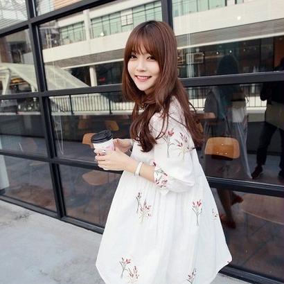 花柄 ワンピース 春 秋 冬 白 ホワイト 七分袖 7分袖 ひざ丈 F0037001