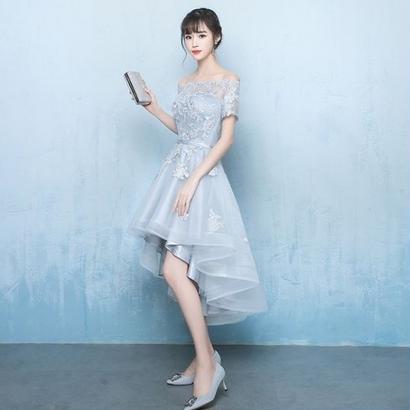 韓国ワンピース オフショルダー 花柄刺繍 フィッシュテールスカート パーティードレス 結婚式 二次会 発表会  FS065101