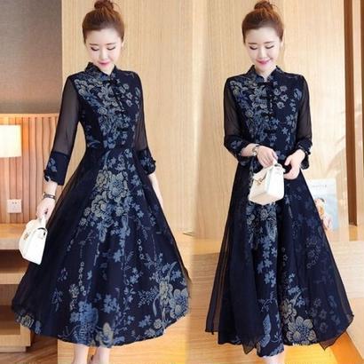 大きいサイズ 韓国ドレス ボタニカル 花柄 ハイネック ロングドレス ドレスワンピース XL 2XL FS017301