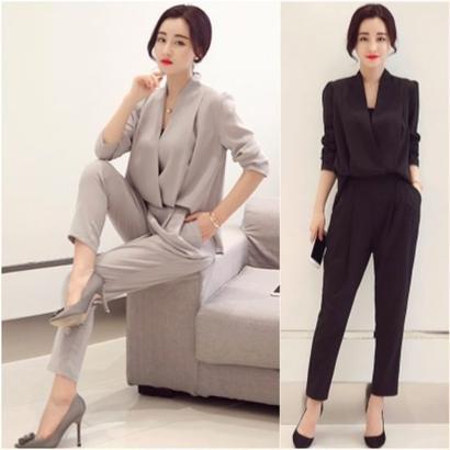 オールインワン サロペット 長袖 セットアップ セレブ 韓国 韓流 ファッション カラバリ4色 FS000101