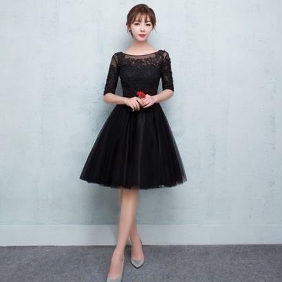 韓国 ワンピース チュールドレス パーティドレス ブラック FS029901