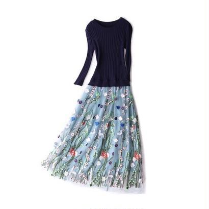 花柄刺繍 スカート ニットワンピース お出かけ お呼ばれ パーティードレス FS049401