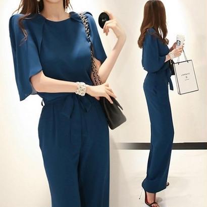 オールインワン パンツドレス 韓国ワンピース パーティードレス クルーネック ノースリーブ ポンチョ袖 透け感 FS080201