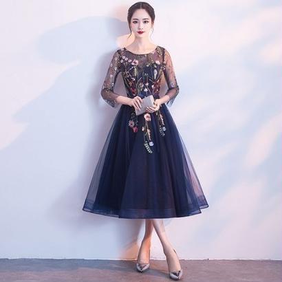 花柄刺繍 ロングドレス ネイビーブルー ナイトドレス パーティー FS049301