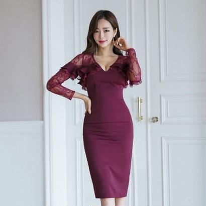 韓国ワンピース 韓国ドレス 胸元フリル 花柄レース 美しい パープル ナイトシーン FS104601