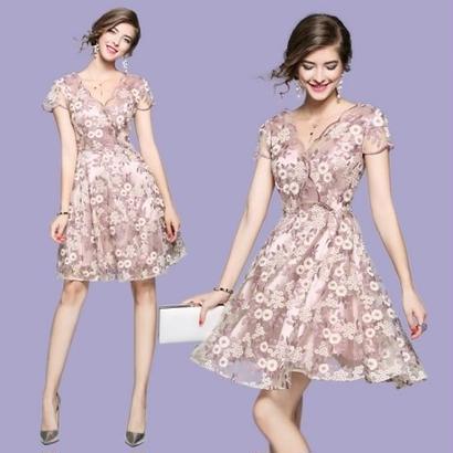 花柄刺繍 ワンピース デート お出かけ セレブ女性 レース 美しい パーティードレス FS048901