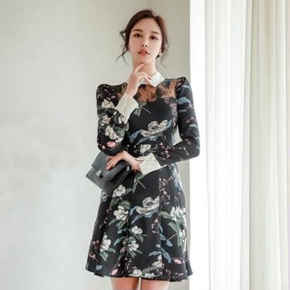 韓国ドレス 韓国ワンピース エレガント 花柄デザイン 可愛い ハイウエスト 襟付き FS108901