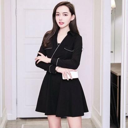 韓国ドレス 韓国ワンピース ウエストベルト カシュクールデザイン FS106301