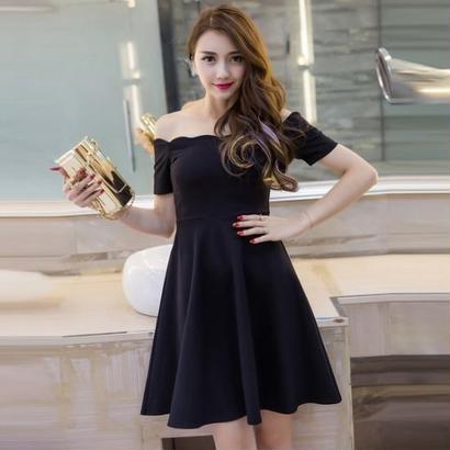 オフショルダー Aライン ドレス ワンピース パーティー ひざ丈 無地 ブラック 黒 フレア FS020201