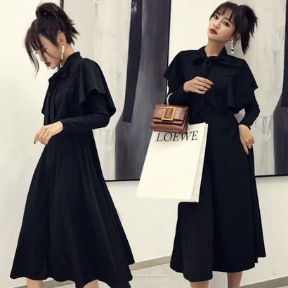 韓国ワンピース 韓国ドレス リボンタイ 可愛い 大人コーデ ブラック FS104701
