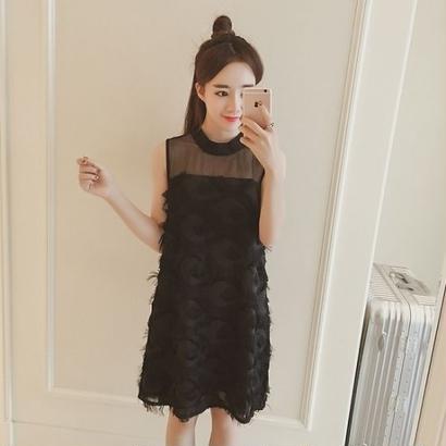 韓国ワンピース ノースリーブ パーティドレス ふわふわ素材 セレブ シースルーワンピース FS046301